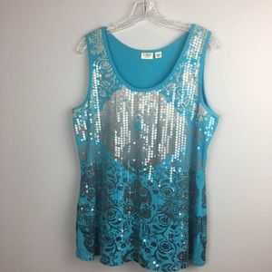 BEAUTIFUL CATO TANK WITH SEQUIN PATTERN SIZE 18